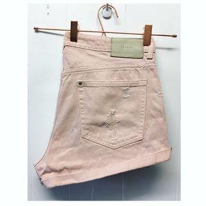 H&M   Light Pink Distressed Boyfriend Shorts Denim